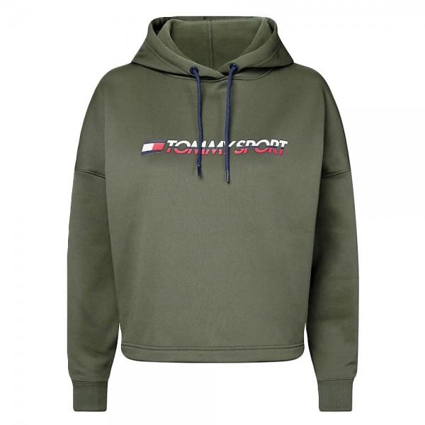 TOMMY - CROPPED LOGO sweater women - donkergroen