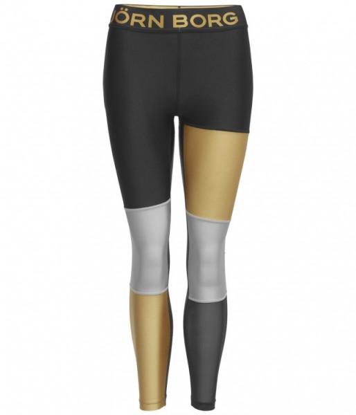 BJORN BORG - CENDALL blocked tights - zwart goud