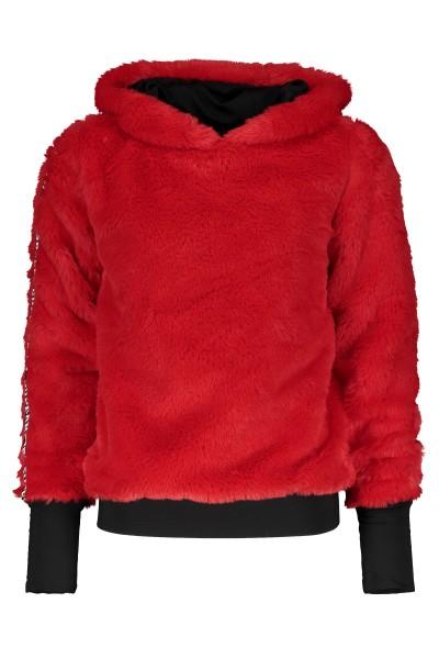 SUPER REBEL - HOODED FUR sweater - rood