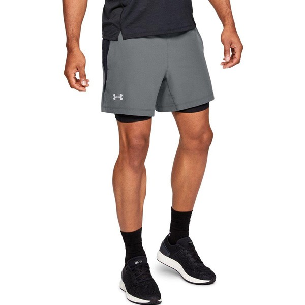 UNDER ARMOUR - SPEEDPOCKET 2-IN-1 short men - grijs