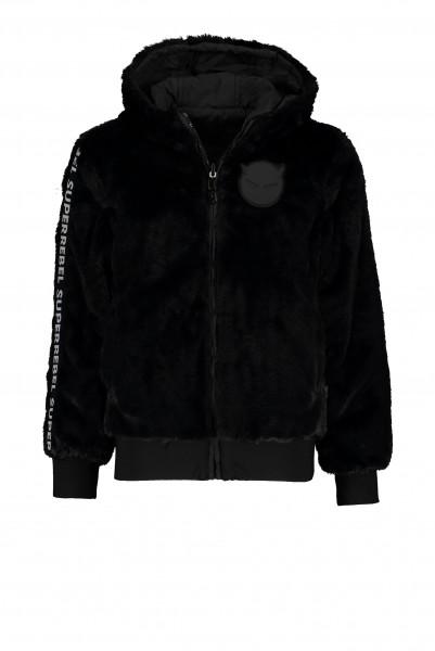 SUPERREBEL - HOODED FUR jas girls - zwart