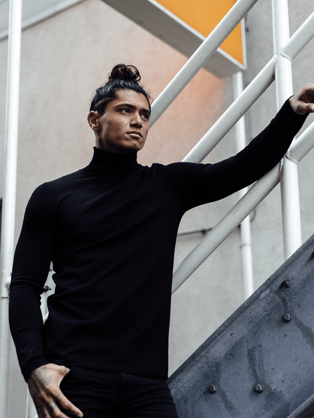 2LEGARE - KNIT TURTLENECK men - zwart