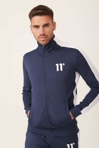11 DEGREES - POLY PANEL Track Top men - blauw/wit