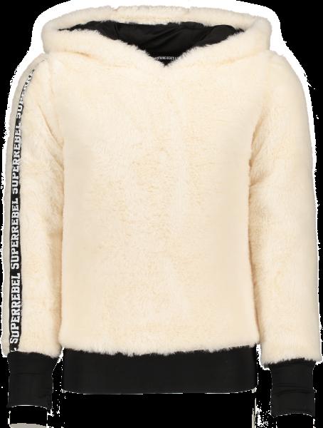 SUPER REBEL - HOODED FUR sweater - wit