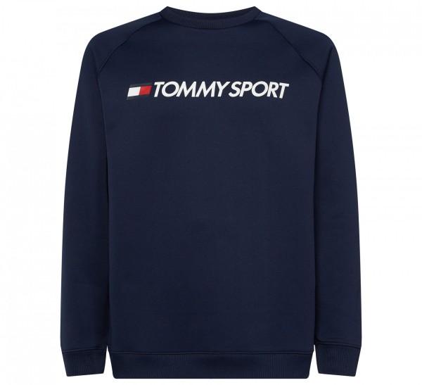 TOMMY - FLEECE LOGO CREW trui - donker blauw