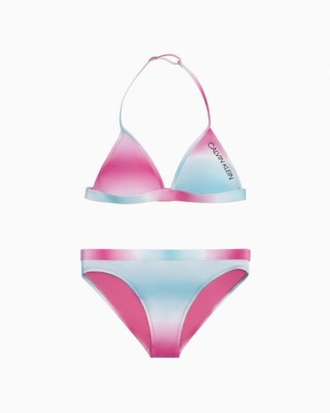 CALVIN KLEIN - TRIANGLE JR bikini - blauw/roze