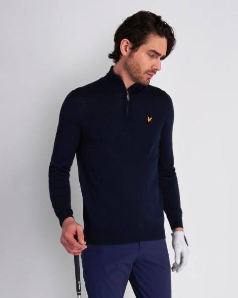LYLE & SCOTT - QUARTER ZIP trui men - donkerblauw